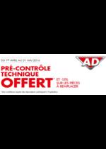 Promos et remises AD : Pré-controle technique offert et -15% sur les pièces à remplacer