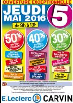 Promos et remises  : Jusqu'à 50 % en bon d'achat le jeudi 5 Mai de 9h à 13h !