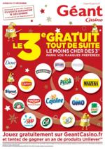 Prospectus Géant Casino : Le 3ème gratuit tout de suite