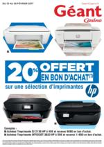 Prospectus Géant Casino : 20% offert en bon d'achat sur une sélection d'imprimantes