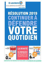 Prospectus E.Leclerc : Résolution 2019 continuer à défendre votre quotidien