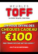 Bons Plans Meubles Toff : Chèques Cadeau de 100€